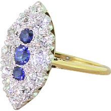 Art Deco Sapphire & Old Cut Diamond Navette Ring, circa 1925