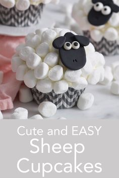 These cute and delicious sheep cupcakes from Preppy Kitchen have marshmallow fur an easy to make fondant face and the whole thing sits on top of a moist and rich chocolate sponge base. Sheep Cupcakes, Sheep Cake, Unicorn Cupcakes, Easter Cupcakes, Easter Cookies, Fun Cupcakes, Easter Treats, Cupcake Cakes, Easy Fondant Cupcakes