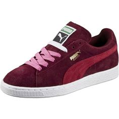 Puma Suede Classic Women's Sneakers ($65) ❤ liked on Polyvore featuring shoes, tall shoes, cat shoes, sport shoes, 1980s shoes and laced shoes