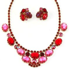 Demi paure in the Delizza and Elster a.k.a. Juliana style. This set is not confirmed, but does bear many characteristics of Juliana jewelery from t...  #demiparure #gold #pink #red #vintage #jewelry