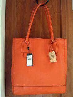 b2caa1ca40 NWT Lauren Ralph Lauren Orange Leather Zip Top Shoulder Tote Handbag  268