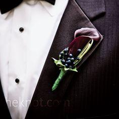 Purple Wedding Boutonniere
