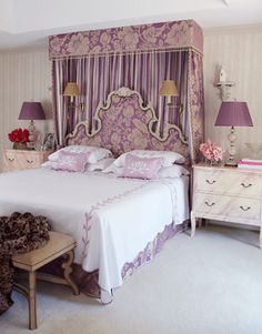 love the mini canopy/headboard idea- not my style of color or fabric pattern however