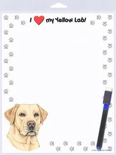 Yellow Lab Dog Memo Board Notepad Magnetic Sign 8x10 available www.DogLoverStore.com