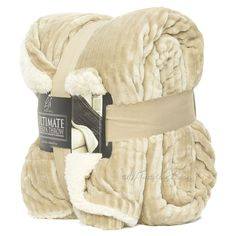 Cuddly Ultimate Sherpa Ultra Soft and Warm Throw Blanket Reversible Oversized 60in. X 70in. Super Luxurious Plush Reversing to Microsherpa Description High-Pile plush cuddly Ultimate throw with micros