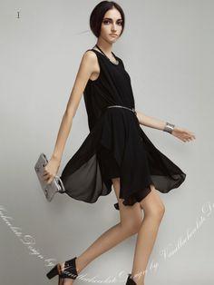 macron fashion style http://www.macaronfashion.com/dresses/layered-black-chiffon-dress-with-petal-hem.html