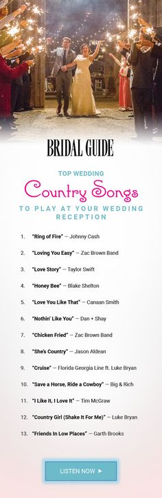 Country Songs to Play at Your Wedding Get the party started at your wedding reception with these top country hits!Get the party started at your wedding reception with these top country hits! Wedding Songs Reception, Country Wedding Songs, Wedding Song List, Top Country Songs, Best Wedding Songs, Wedding Playlist, Wedding Dj, Trendy Wedding, Dream Wedding
