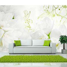 Fotomural adhesivo con flores blancas y detalles verdes - https://vinilos.info/producto/fotomural-adhesivo-con-flores-blancas-y-detalles-verdes/ Fotomural de distintos tamaños. Fotografía de alta resolución. Muy fácil de montar.   #Dormitorio, #Recibidor, #Salón   #decoracion