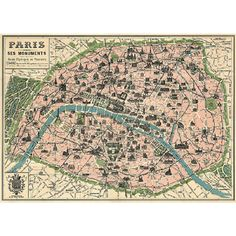 Reproduction of a Paris map from the end of the 19th Century. Ready for framing. $4.99