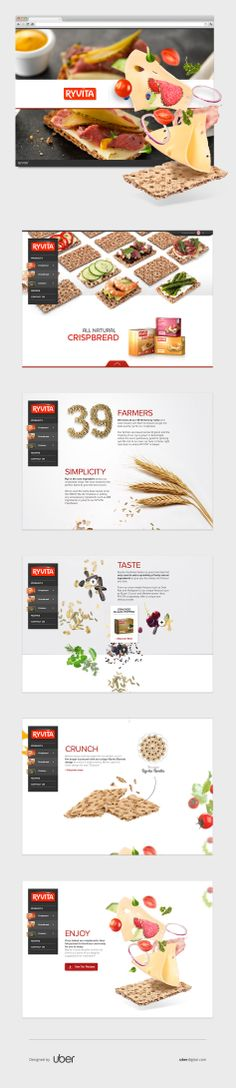 We worked to showcase everything that is unique to the Ryvita brand: all natural ingredients, brand heritage and versatility. Food Web Design, Web Design Tools, Web Design Projects, Menu Design, Site Design, Ux Design, Intranet Design, Mobile Ui Design, Ui Web