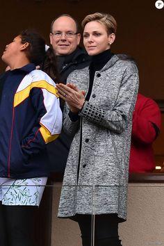 """La princesse Charlene de Monaco assiste, en compagnie de son fils le prince héritier Jacques et époux Albert de Monaco, au 6ème """"Tournoi Sainte Dévote"""" de Rugby, le samedi 27 février 2016, au Stade Louis II à Monaco. © Bruno Bebert / Bestimage"""