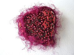 RED Heart Beaded Brooch Pin fibre art jewellery modern brooch (8.50 GBP) by shelikesthis
