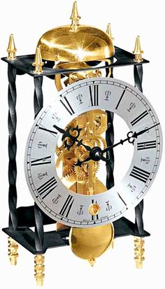 "Galahad II: Antiqued table clock features a wrought iron case with twisted columns and a Roman numeral dial. The mechanical 14-day passing bell strike movement has a polished bell to accent the polished brass feet. Made in Germany. Measures: H 9-1/2"" x W 5-7/8"" x D 4"" - Three year manufacturer's warranty - Free shipping within the contiguous United States from http://www.theisenclock.com/mantel_clocks.html"