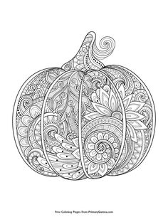 Fall Coloring Pages EBook Zentangle Pumpkin