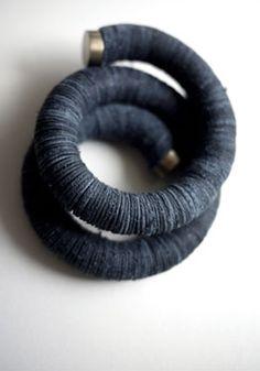 Large Rondel 3 Coil Bracelet (Indigo - $575) Urban Zen (color? construction?)