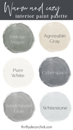 Green, blue, beige cozy interior paint palette Interior Paint Palettes, Decorating Your Home, Diy Home Decor, Thrifty Decor Chick, Exterior Paint Colors, Vintage Vogue, Pure White, Cozy House, House Painting
