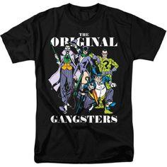 DC Comics Men's Old School Original Gangsters Graphic T-Shirt, Black, 2XL