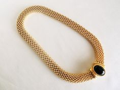 Vintage Retro Black Cabachon Gold Tone Bubble by MemawsTopDrawer