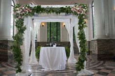 Birch with full draping and flowers www.chuppah.ca @Casa Loma