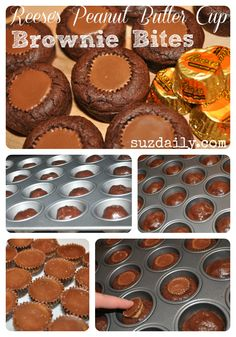 These Reese's peanut butter cup brownie bites are so easy to make - only 4 ingredients!! Definitely a simple dessert favorite! www.suzdaily.com