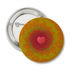 #Button #Badge with a cute red, yellow & orange #fractal #art pattern