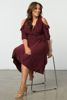 f1ed02d28bc Get festive for fall in our trendy plus size Barcelona Wrap Dress! This  plus size cocktail dress has cold shoulder barrel sleeves and ruffled  details for a ...