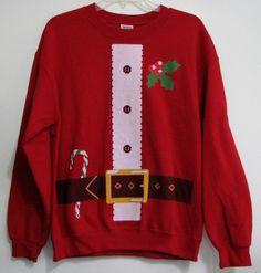 Santa Clause Suit M Red Ugly Cotton Blend Crewneck Long Sleeve Sweat Shirt  #Gildan #SweatshirtCrew