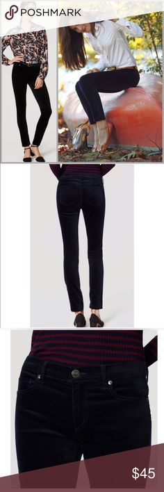 LOFT Velvet Skinny Pants Super cute Loft black velvet pants. Size 10 brand new with tags. Pants Ankle & Cropped