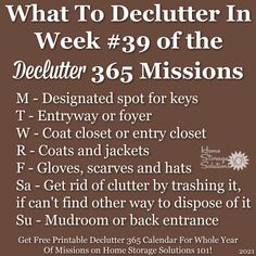 What to declutter in week #39 of the Declutter 365 missions {get a free printable Declutter 365 calendar for a whole year of missions on Home Storage Solutions 101!} Hat Storage, Kids Storage, Closet Storage, Getting Rid Of Clutter, Getting Organized, Entry Closet, Home Storage Solutions, Clutter Free Home, Family Organizer