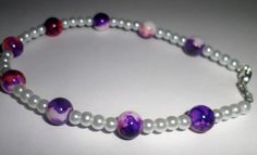 Pink and Purple Bead with White Pearl Anklet by MandyPandyGiftShop