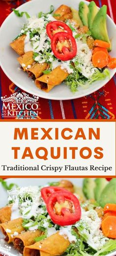Crispy fried corn tortillas… Do I need to say more? Delicious Flautas or Crispy Tacos are tightly rolled tacos with beef filling, wrapped in a crispy, golden fried tortilla. They're made quick and extra easy with these simple tips, and guaranteed to win over any crowd! Mexican Chicken Recipes, Mexican Dishes, Mexican Meals, Fried Corn Tortillas, Real Mexican Food, Mexican Style, Crispy Tacos, Kitchen Recipes, Easy Meals