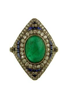 Fine Art Deco Ring with Cabochon Emerald,  Cabochon Sapphire Surrounds and Diamonds