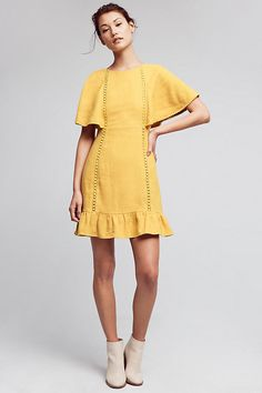 Fluttered & Flounced Dress 2016 Linen, cotton; rayon lining  Slim silhouette  Tie closure  Dry clean  Imported