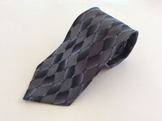 Privado Neck Tie Blue Black Gray Geometric 100% Silk #Privado #NeckTie