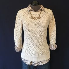 Open Weave Cream Cotton Sweater by LOFT Super Cute! A beautiful cream color that goes with anything. You could dress this up or down. Size XS, TTS. 100% cotton. 3/4 length sleeves. This has an open weave, so it is semi-see through. You probably want to wear something underneath. However it is a mid-weight knit. Back of neck to hem is 23.5 inches, bust measured flat across is 16 inches. In Perfect condition, No wear or tear or any flaws. LOFT Sweaters Crew & Scoop Necks