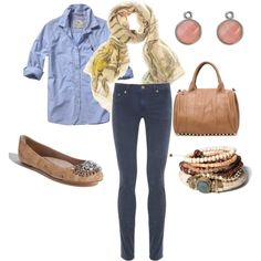 All denim with neutral accessories