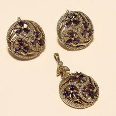 Russian Purple Zircon Ring Earrings 925 Sterling Silver Turkish Two Tone Jewelry Eid Gift, Turkish Jewelry, Two Tones, Ring Earrings, Pocket Watch, Jewelry Gifts, Fashion Jewelry, Sterling Silver, Diamond
