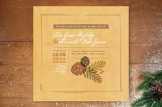 Rustic Pinecones Wedding Invitations by Jennifer Wick at minted.com