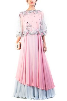 Online Fashion Store| Designer Clothing -Smritiapparels.com. Misty Rose & Gray Asymmetrical Double Layered Cape Gown