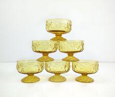 Milano-Lido Dessert Gerichte / Set 6 Amber Glas Kompott / Anker Hocking gelbe…