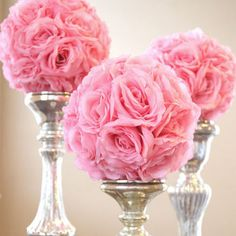 Beautiful artificial flower ball pomanders for an inexpensive kissing ball. Creates a stunning decor for indoor or outdoor weddings. Decorate it with a vase or covered with silk petals. The string is attached for a beautiful floral accent. Bridal Shower Decorations, Wedding Centerpieces, Wedding Table, Diy Wedding, Wedding Flowers, Wedding Decorations, Wedding Ideas, Vases For Centerpieces, Flower Ball Centerpiece