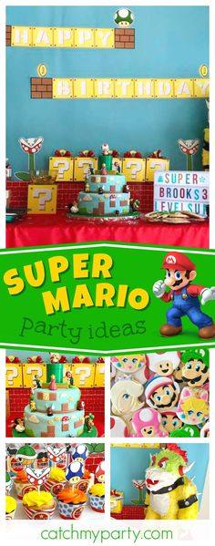 Check out this awesome Super Mario Bros birthday party! The cookies are awesome!! See more party ideas and share yours at CatchMyParty.com #supermariobros #partyideas