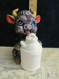 Vintage Salt and Pepper Shakers Purple Cow Milk Can Huggers