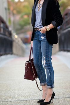Zara blazer :: American Apparel t-shirt :: Koral Los Angeles jeans :: Banana Republic belt :: Kate Spade shoes :: Valentino handbag (smooth leather version) :: J.Crew necklace :: Michael Kors watch :: Vince Camuto bracelet