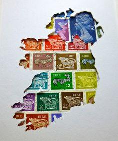 Irlanda mappa Art, arte del francobollo, irlandese regalo, arredamento irlandese, Irlanda del nord di arte, casa ufficio arredamento, colori estivi