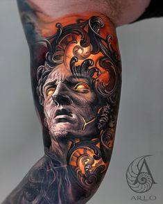 Tattoo works by © Arlo DiCristina.  Location: Elysium Studios - Grand Junction, CO.  Dope Tattoos, Great Tattoos, Body Art Tattoos, Osiris Tattoo, Biomech Tattoo, Arlo Dicristina, Celtic Tattoos For Men, Colored Tattoo Design, Surreal Tattoo