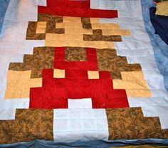 Super Mario Bros - Custom 8-Bit Videogame Quilt For Old School Fans