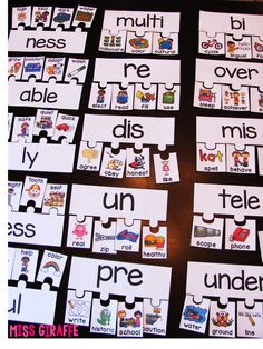 Prefixes and Suffixes puzzles and other great ideas and resources on this blog