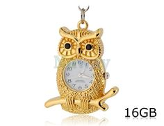 Owl Clock Shaped 16GB USB Flash Drive (Golden) | Nuway Shopping