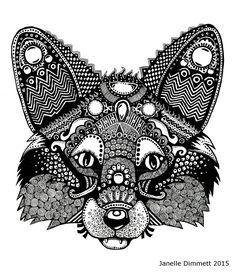 Fox Queen -Zentangle Fox - Black and White Version by Janelle-Dimmett on DeviantArt